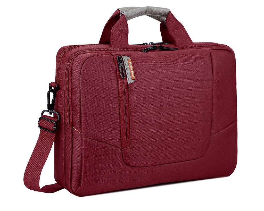 "15.6"" Nylon Shoulder Bag with Detachable Shoulder Strap - Red"