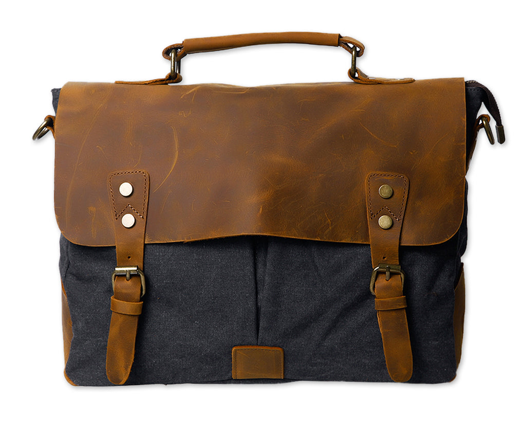 Vintage Canvas Satchel Messenger Bag for Men - Dark Gray