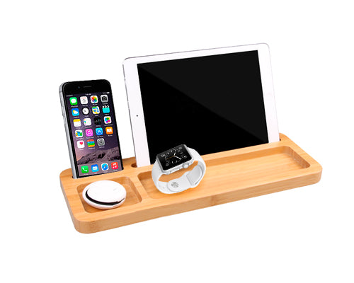 Bamboo Smartphone, Tablets and Apple Watch Phone Stand Storage Holder
