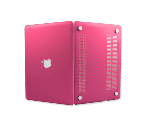 "Matt Series 12"" MacBook Hollow-out Logo Hard Case - Magenta"