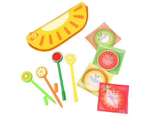 Fruit Shaped Stationery Set with Pencil Case Pens and Sticky Notes - C