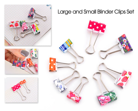 48 Pcs Assorted Color & Patterned Binder Clips Set - 19mm and 25mm