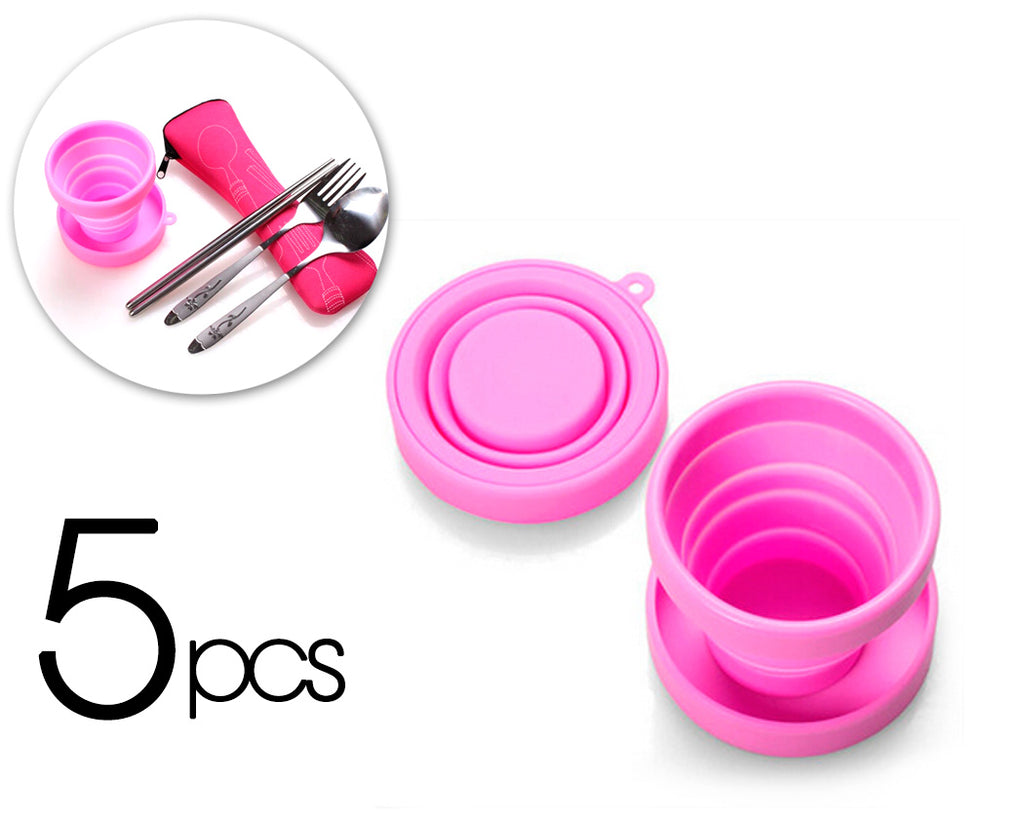 5 Pcs Silicone Folding Retractable Water Cup for Travel - Pink