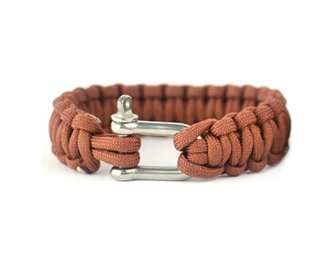 Survival Bracelet Strap with Stainless Steel U Shackle - Wolf Brown