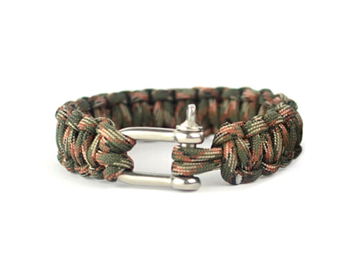 Survival Bracelet Strap with Stainless Steel U Shackle - Jungle Camo