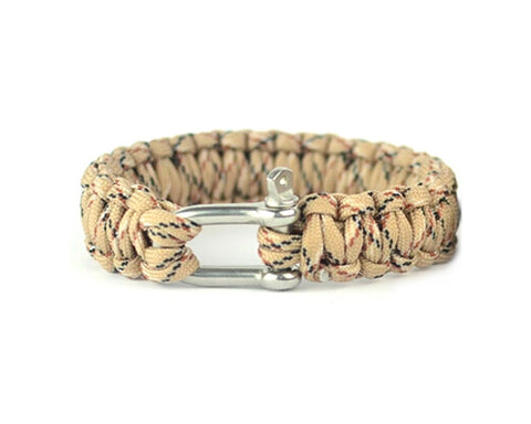 Survival Bracelet Strap With Stainless Steel U Shackle - Desert Camo