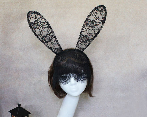 Sexy Rabbit Ears Headband with Lace Mask - Black