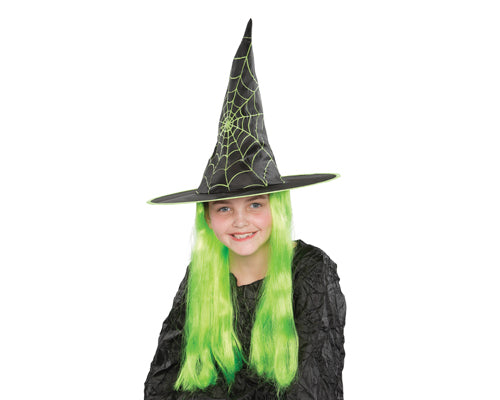 Halloween Party Costume Accessory Kids Witch Hat with Green Wig