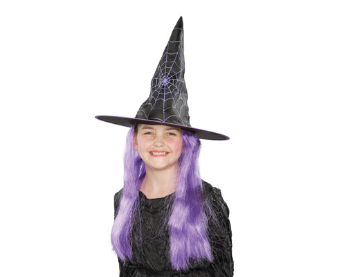 Halloween Party Costume Accessory Kids Witch Hat with Purple Wig