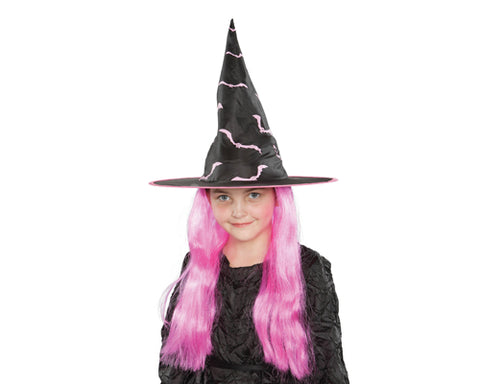 Halloween Party Costume Accessory Kids Witch Hat with Pink Wig