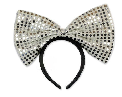 Party Costume Accessory Sequin-Sheen LED Flashing Bow Headband