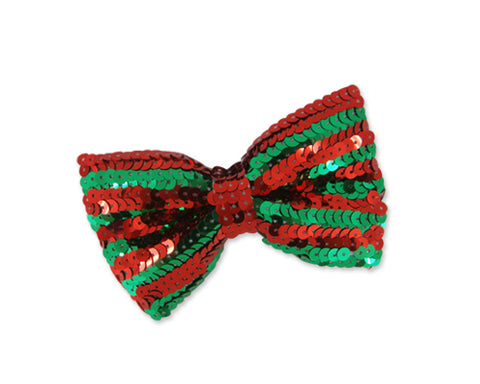Sequin Christmas Bow Tie - Red Green