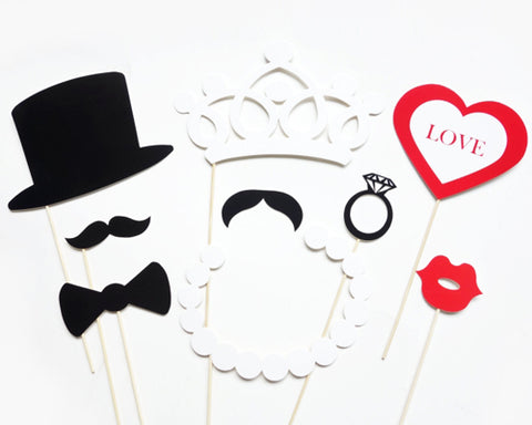 9 Pcs Wedding Party Photobooth Props with Stick