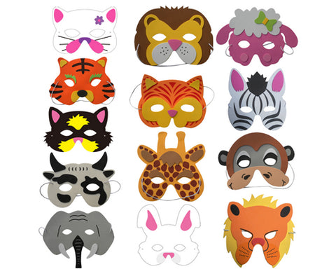 12 Assorted Foam Animal Masks for Dress-Up Costume