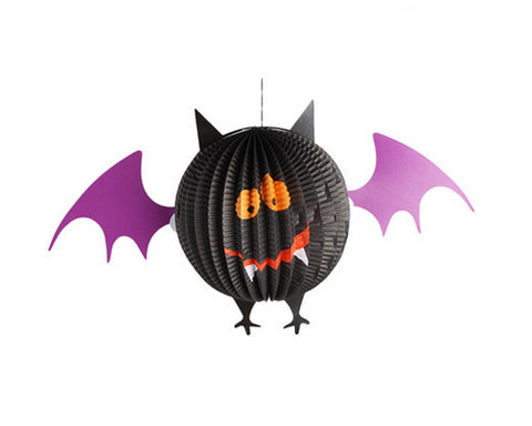 3 Pcs Halloween Party Decoration Round Paper Lantern - A