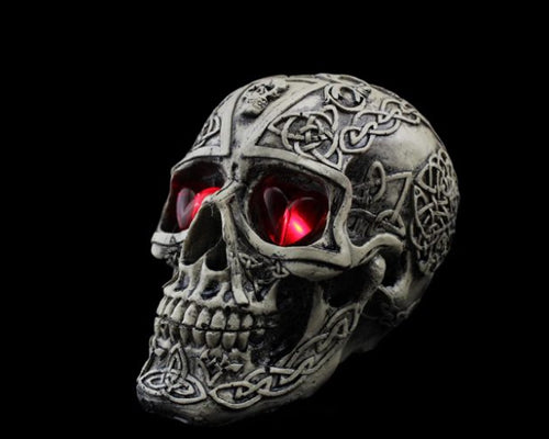 Halloween Decoration Terror Resin Skull Ornament w/ LED Light -Carving