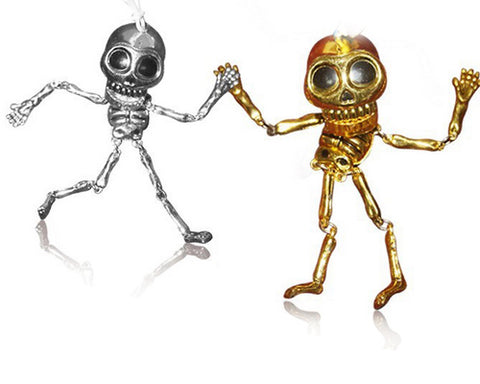 Halloween Party Decorations Skull Skeleton Keychain Gold+Silver 2 Pcs