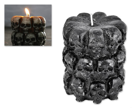 Halloween Decoration Smokeless Skull Horror Scary Candle - Black