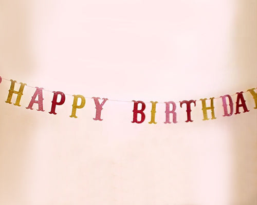 10 Feet Happy Birthday Party Glitter Banner