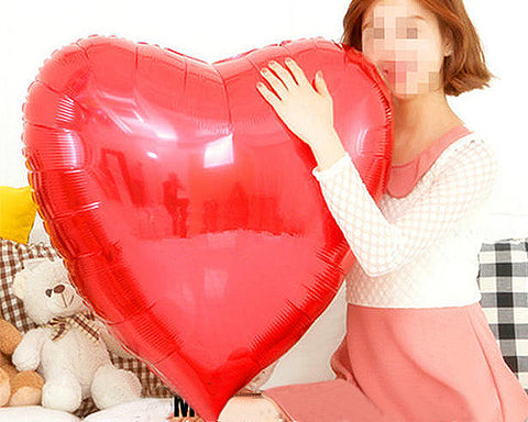 5 Pcs 36'' Red Heart Shaped Foil Mylar Balloon