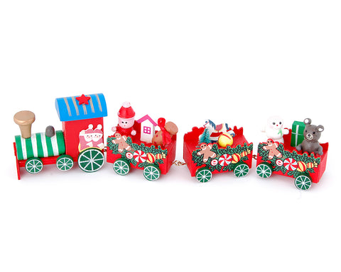 4 Pcs Wooden Christmas Train Decoration Figurine Set