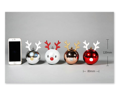 4 Pieces Reindeer Christmas Ball Ornaments