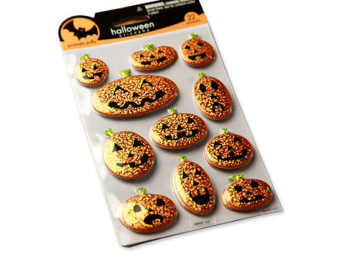2 Sheets Bling Halloween Decoration Pumpkins Shaped Puffy Stickers