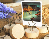 "2"" Paper Photo Clip Memo Card Wood Base Holder Table Decor -Ribbon Bow"