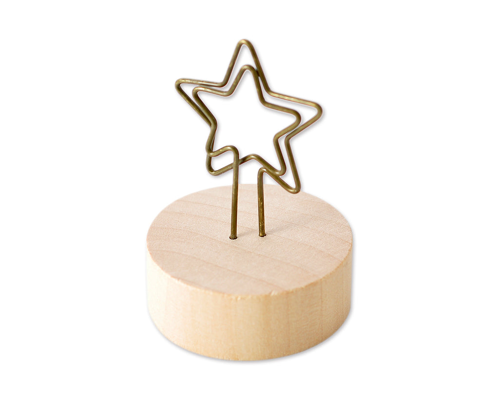 "2"" Paper Photo Clip Memo Card Wood Base Holder Table Decor - Star"