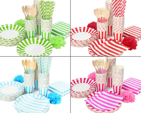 12 Sets Disposable Wood Cutlery Party Set with Stripe Pattern