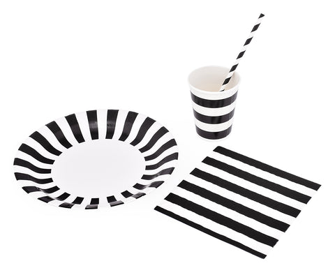 12 Sets Disposable Party Pack with Stripe Pattern - Black