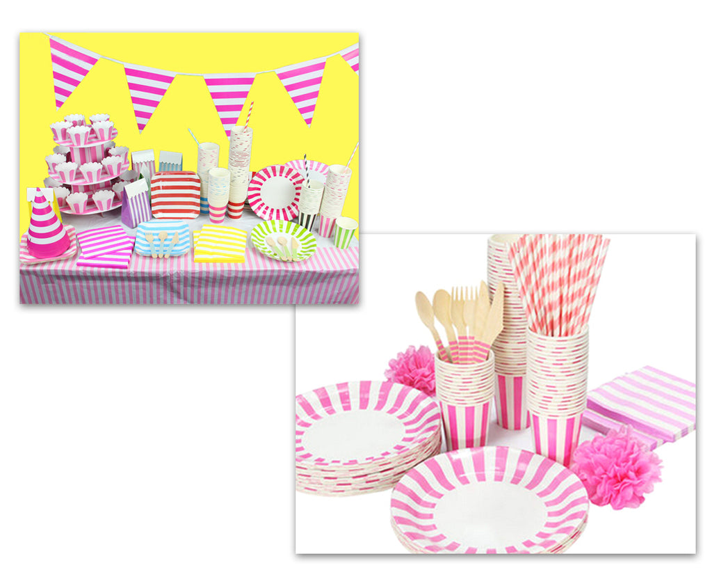 Party Tableware Kit - Paper Plate, Cup, Cutlery, Straw, Napkin - Pink