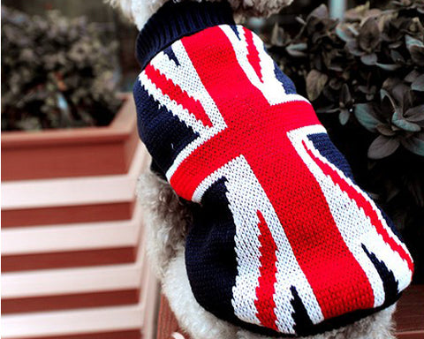 Vintage UK Flag Pet Dog Custom Turtleneck Sweater
