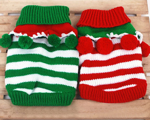 Christmas Cute Pet Striped Knitted Dog Sweater