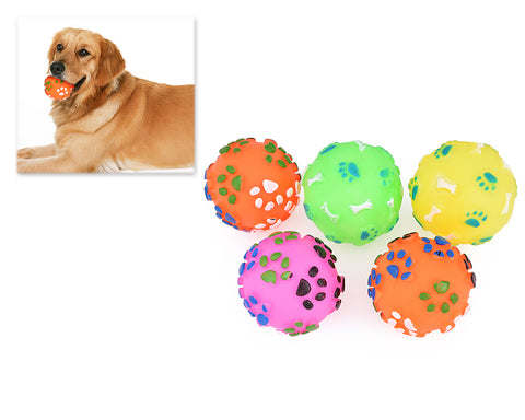 5 Pcs Plastic Footprints Pattern Pet Toy Ball