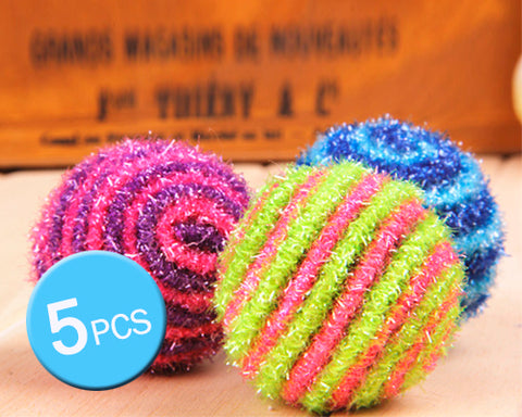 5 Pcs Stripe Pattern Pet Toy Ball