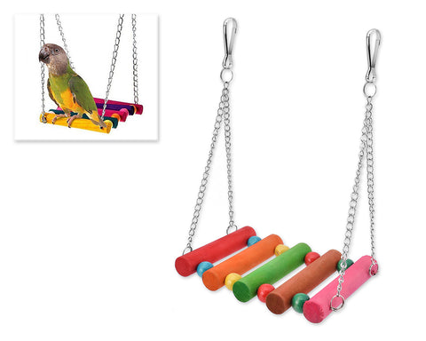 Colorful Wooden Pet Toy Bird Swing Toy Ladders