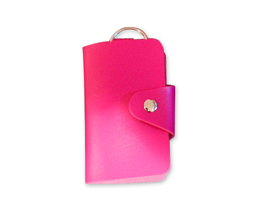 Portable PU Leather Snap Button Closure Key Case - Magenta