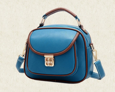 Vintage PU Leather Crossbody Satchel Bag - Blue