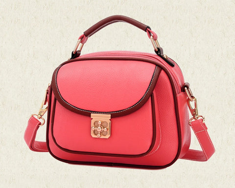 Vintage PU Leather Crossbody Satchel Bag - Red