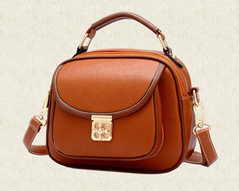 Vintage PU Leather Crossbody Satchel Bag - Brown