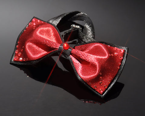 Swarovski Crystal Rhinestones Wedding Bow Tie for Men - Red and Black