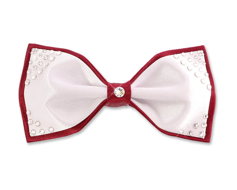 Swarovski Crystal Rhinestones Wedding Bow Tie for Men - White & Red