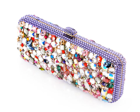 Colorful Bling Swarovski Crystal Clutch Bag - 22cm