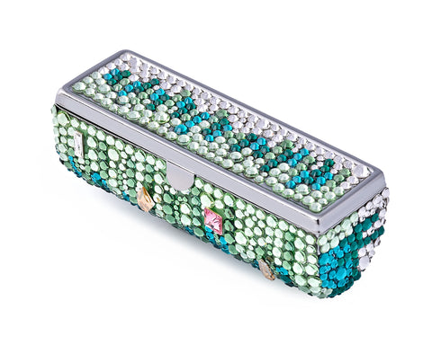 Medley Swarovski Crystal Lipstick Case With Mirror - Green