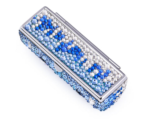 Medley Swarovski Crystal Lipstick Case With Mirror - Blue