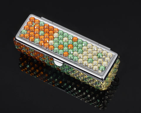 Gradation Swarovski Crystal Lipstick Case With Mirror - Green & Orange