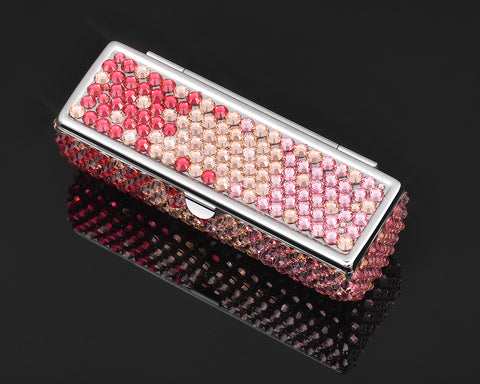 Gradation Swarovski Crystal Lipstick Case With Mirror - Pink