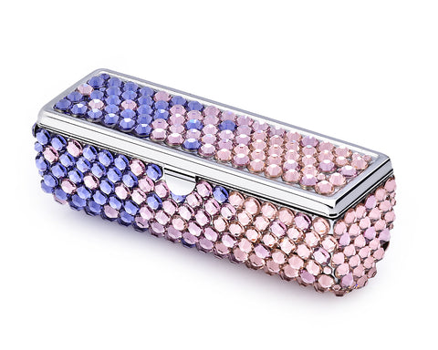 Gradation Swarovski Crystal Lipstick Case With Mirror - Purple