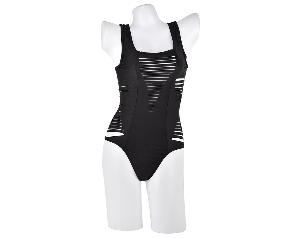 Hollow Out Strappy Monokini Swimwear - Black